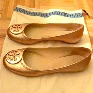 Tory Burch Reva Flats Rose Gold Size 8